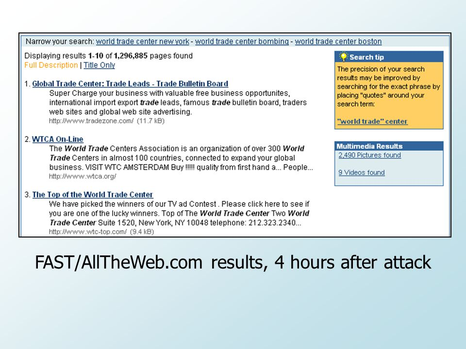 FAST/AllTheWeb.com results, 4 hours after attack