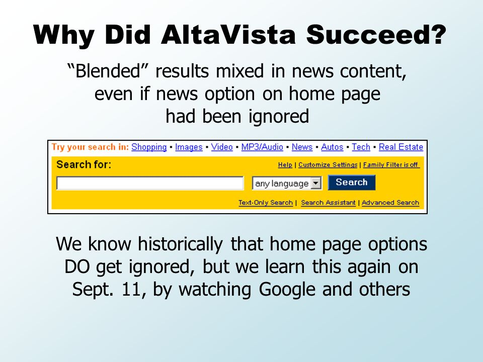 Blended results mixed in news content, even if news option on home page had been ignored Why Did AltaVista Succeed.