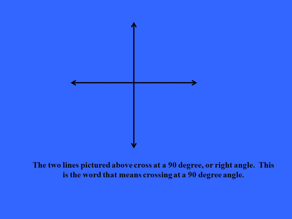 The two lines pictured above cross at a 90 degree, or right angle. This is the word that means crossing at a 90 degree angle.