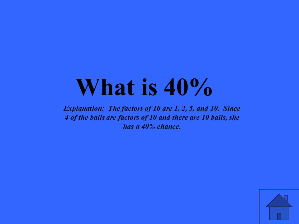 What is 40% Explanation: The factors of 10 are 1, 2, 5, and 10.