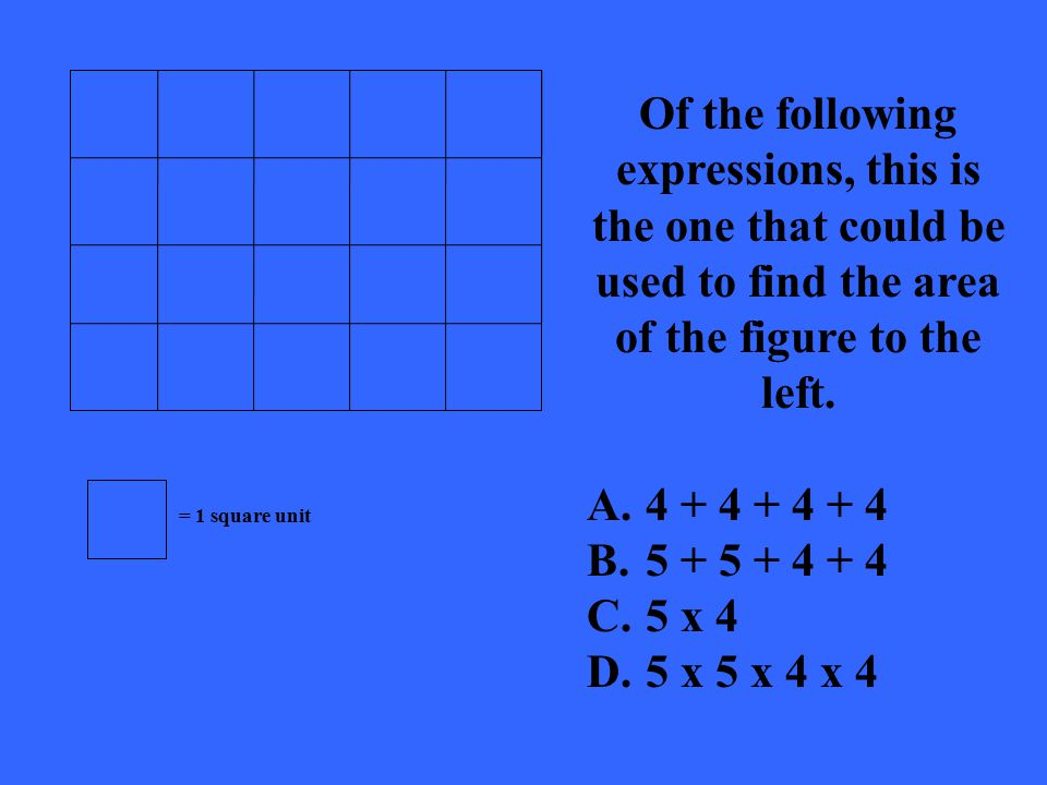 Of the following expressions, this is the one that could be used to find the area of the figure to the left.