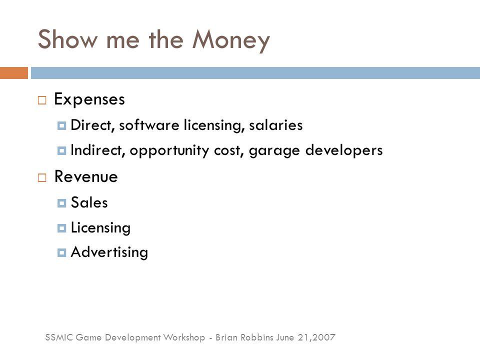 SSMIC Game Development Workshop - Brian Robbins June 21,2007 Game Budgets  MMO = $20-40 Million+  Console = $20 Million  PC = $10 Million  Downloadable Console = $250k-$500k  Casual = $20k-$200k  Web = $500-$500k