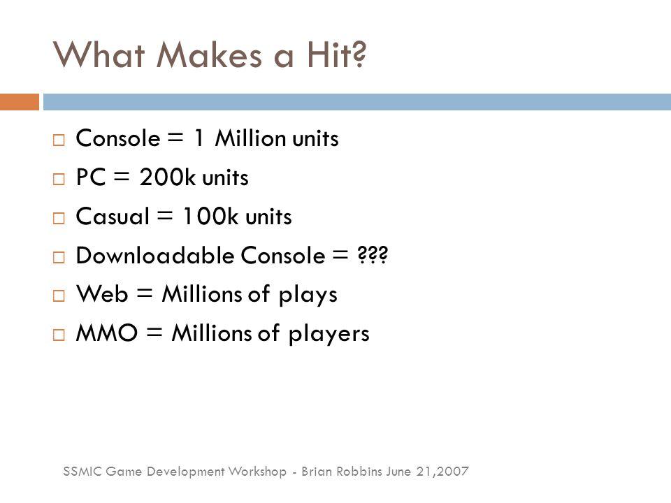 SSMIC Game Development Workshop - Brian Robbins June 21,2007 What Makes Success.