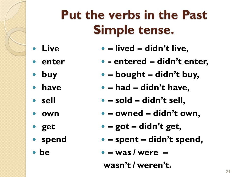 Put the verbs in the Past Simple tense.