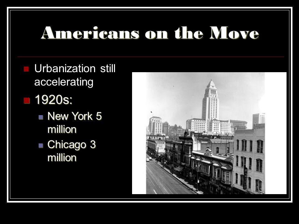 Americans on the Move Urbanization still accelerating 1920s: 1920s: New York 5 million New York 5 million Chicago 3 million Chicago 3 million