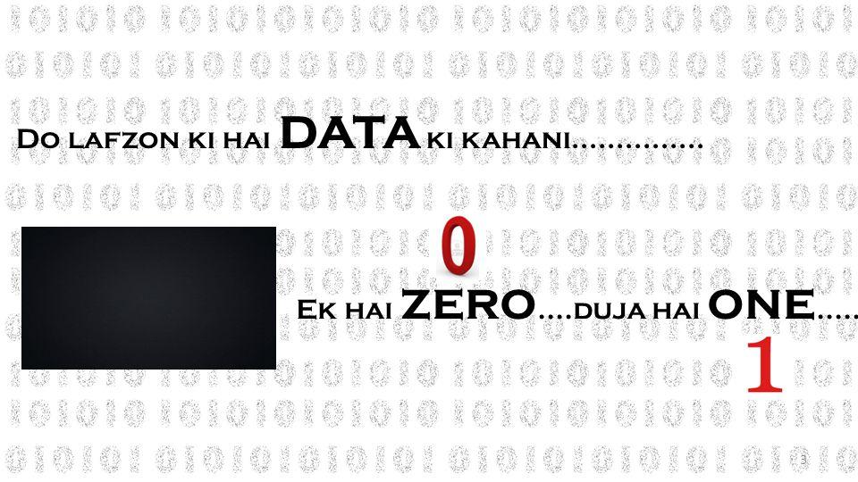 Do lafzon ki hai DATA ki kahani............... Ek hai ZERO....duja hai ONE..... 3