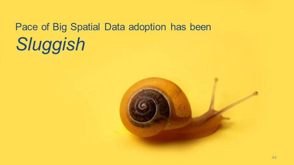 Pace of Big Spatial Data adoption has been Sluggish 44