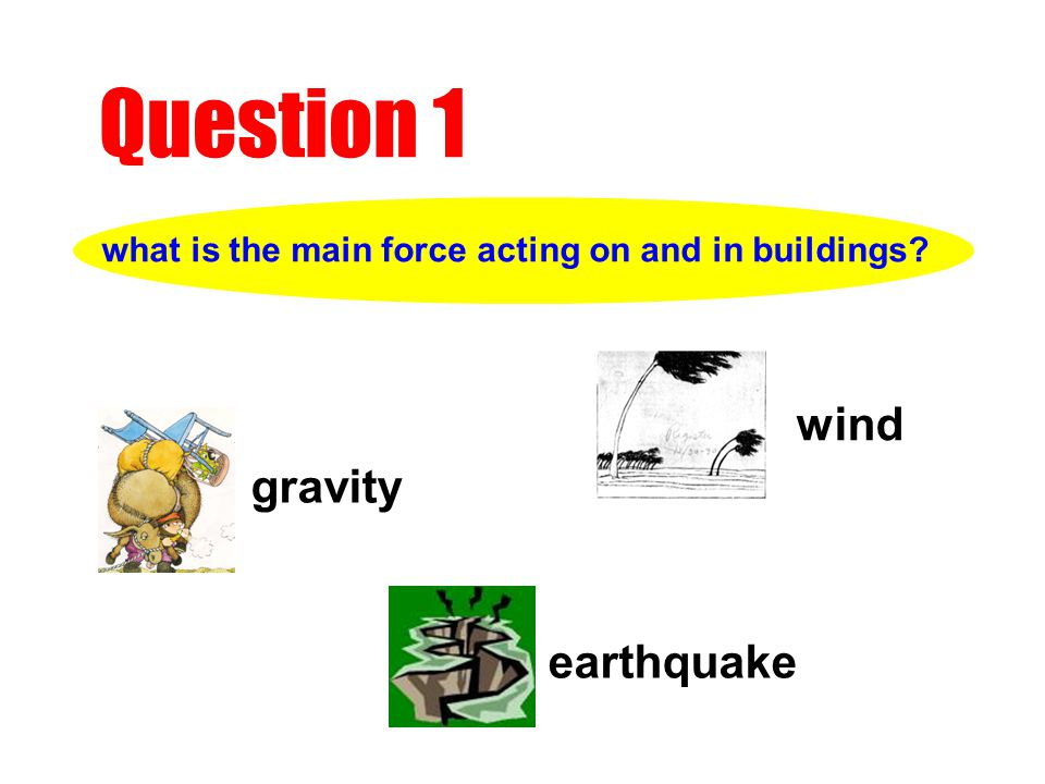 what is the main force acting on and in buildings Question 1 wind gravity earthquake