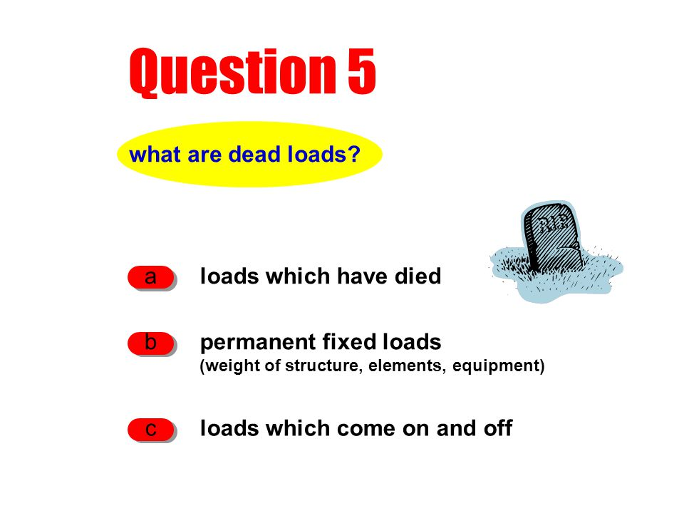 Question 5 what are dead loads.