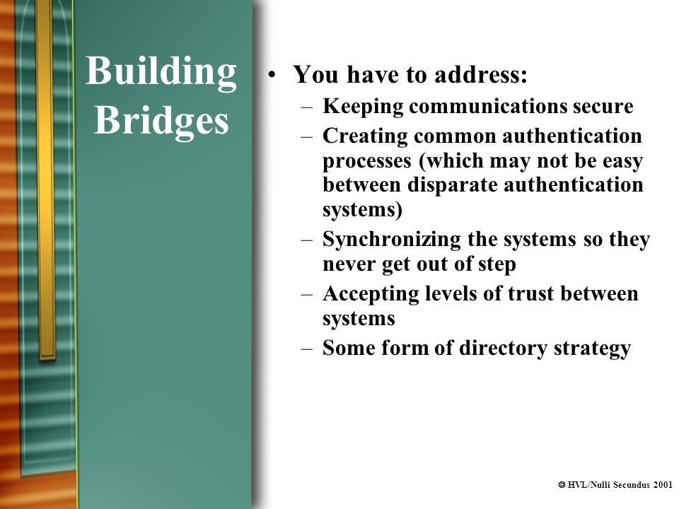 HVL/Nulli Secundus 2001 Building Bridges You have to address: –Keeping communications secure –Creating common authentication processes (which may not be easy between disparate authentication systems) –Synchronizing the systems so they never get out of step –Accepting levels of trust between systems –Some form of directory strategy