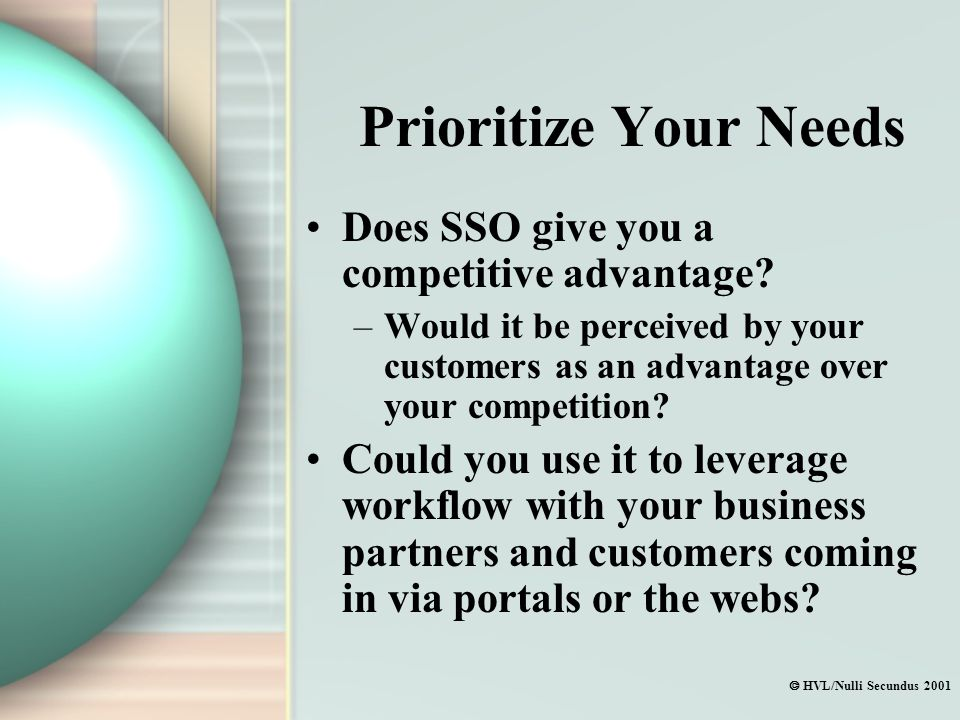  HVL/Nulli Secundus 2001 Prioritize Your Needs Does SSO give you a competitive advantage.