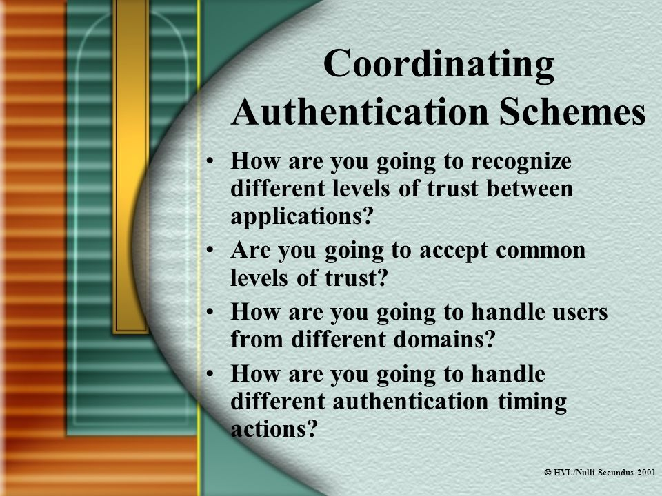  HVL/Nulli Secundus 2001 Coordinating Authentication Schemes How are you going to recognize different levels of trust between applications.
