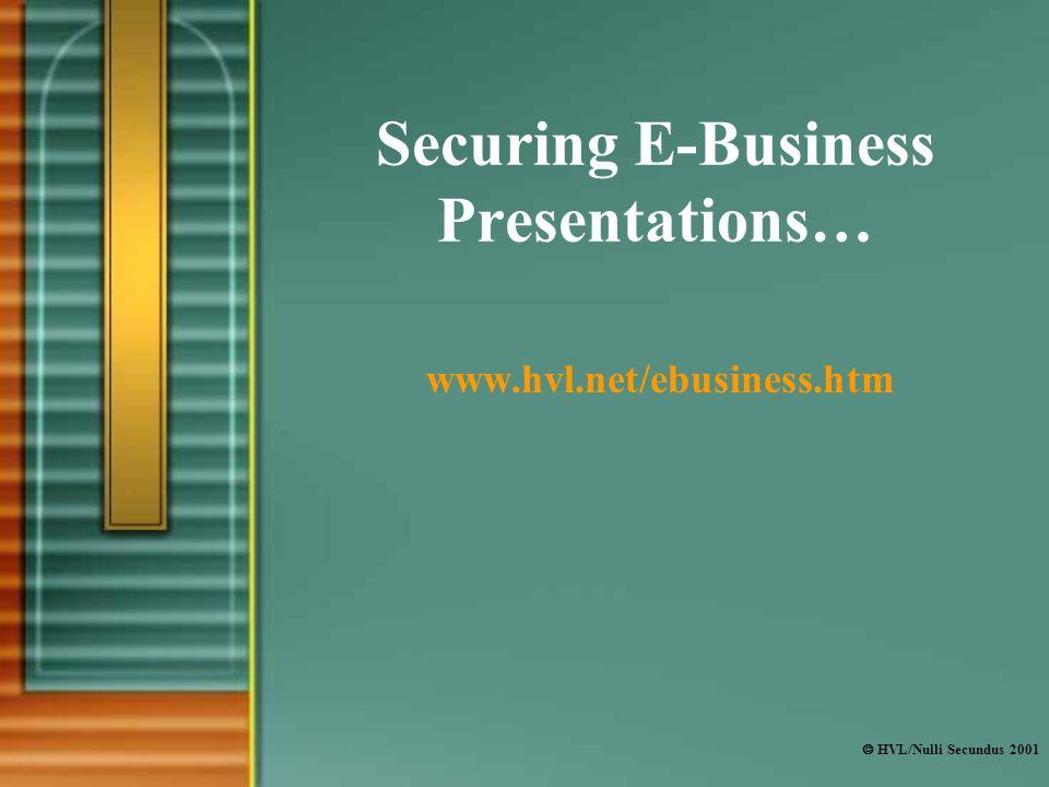  HVL/Nulli Secundus 2001 Securing E-Business Presentations… www.hvl.net/ebusiness.htm