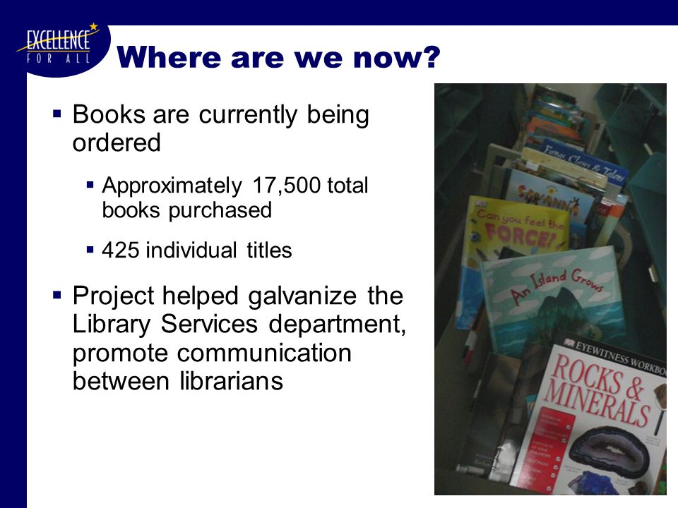 Where are we now?  Books are currently being ordered  Approximately 17,500 total books purchased  425 individual titles  Project helped galvanize