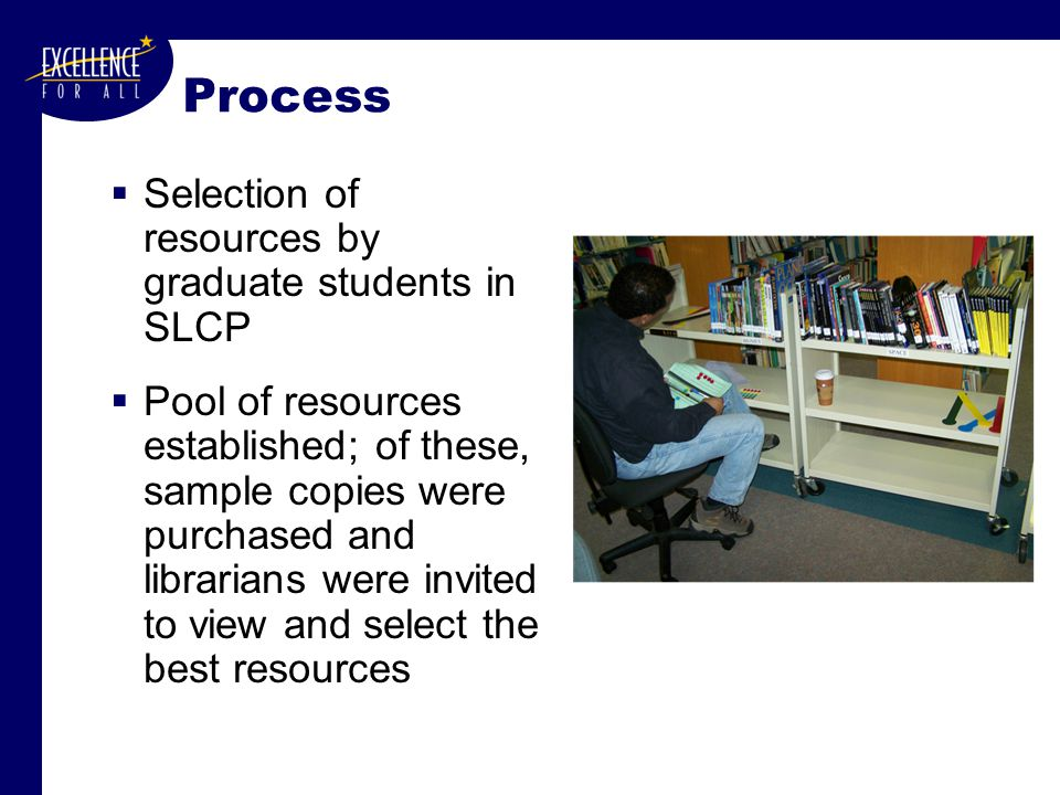 Process  Selection of resources by graduate students in SLCP  Pool of resources established; of these, sample copies were purchased and librarians w