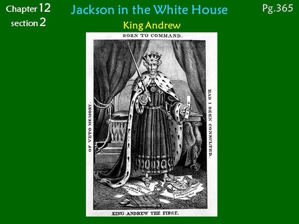 King Andrew Pg.365 Chapter 12 section 2 Jackson in the White House