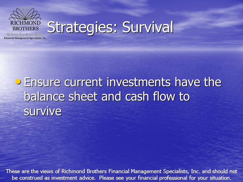 Strategies: Survival Ensure current investments have the balance sheet and cash flow to survive Ensure current investments have the balance sheet and