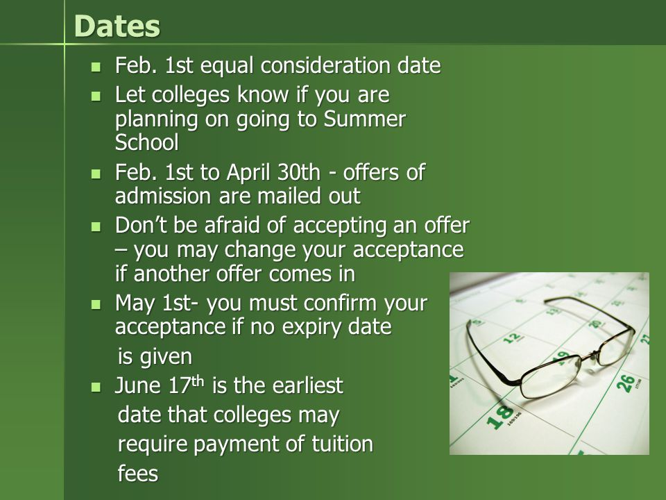 Dates Feb. 1st equal consideration date Feb.