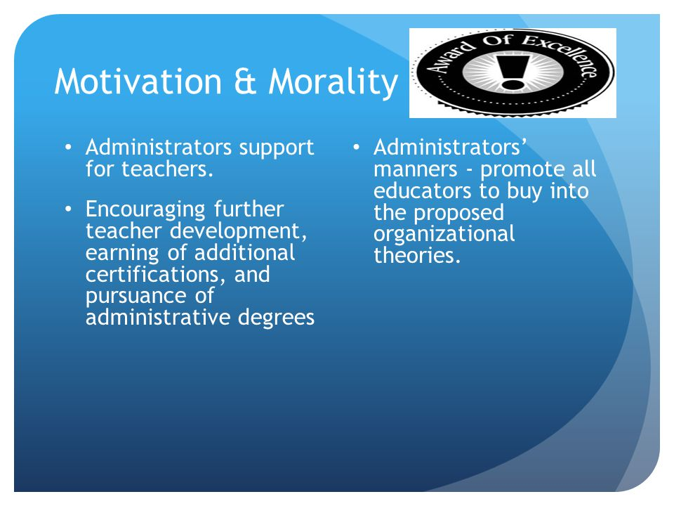 Motivation & Morality Administrators support for teachers.