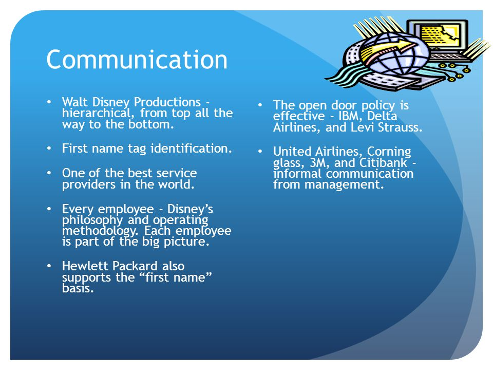 Communication Walt Disney Productions - hierarchical, from top all the way to the bottom.