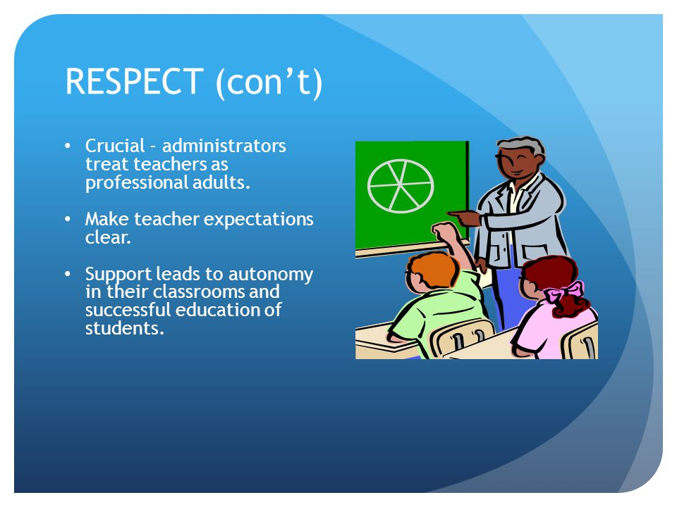 RESPECT (con't) Crucial - administrators treat teachers as professional adults.