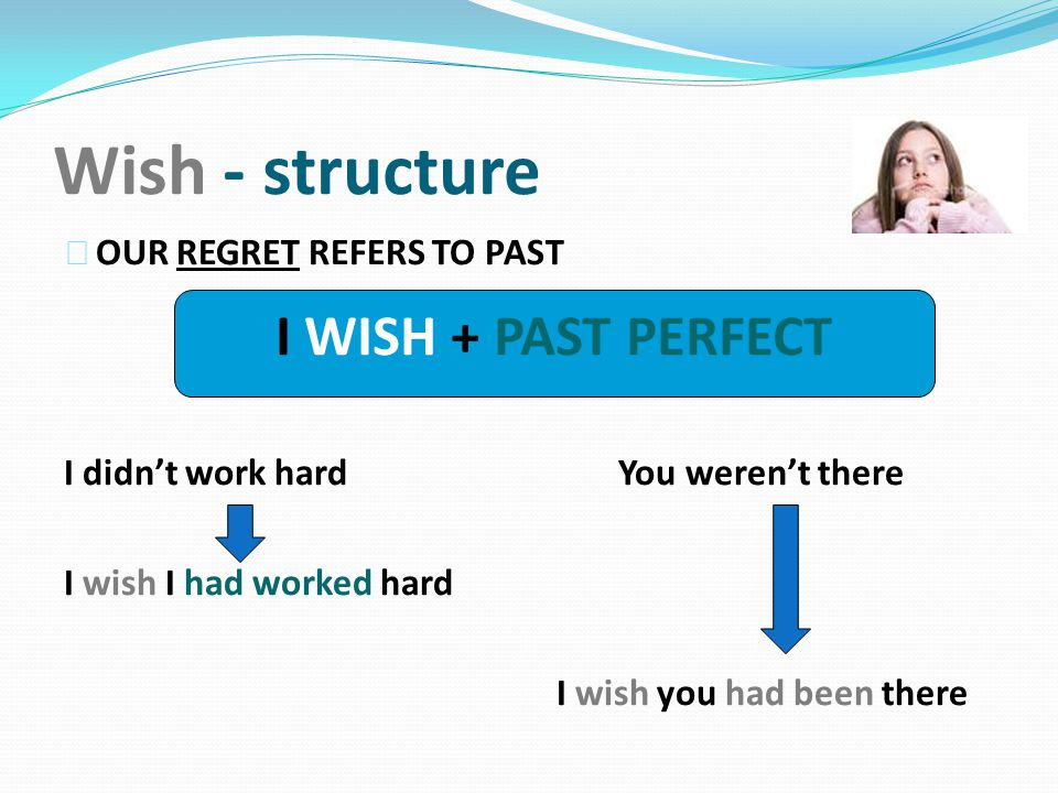Wish - structure 4 OUR REGRET REFERS TO PAST I didn't work hard You weren't there I wish I had worked hard I wish you had been there I WISH + PAST PERFECT