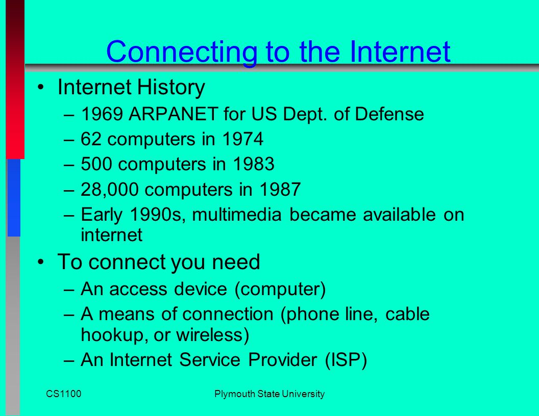 CS1100Plymouth State University How the Internet Started 1957 Sputnik in orbit U.S.