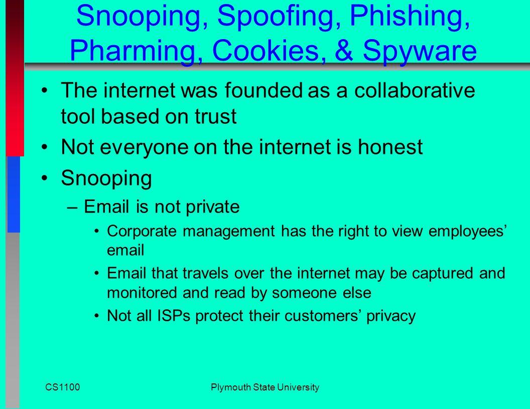 CS1100Plymouth State University Security n Hackers n Encryption n Virus n Intranet n Firewalls