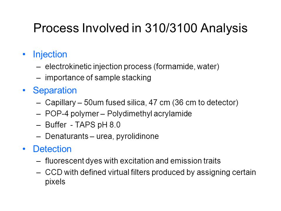 Process Involved in 310/3100 Analysis Injection –electrokinetic injection process (formamide, water) –importance of sample stacking Separation –Capill