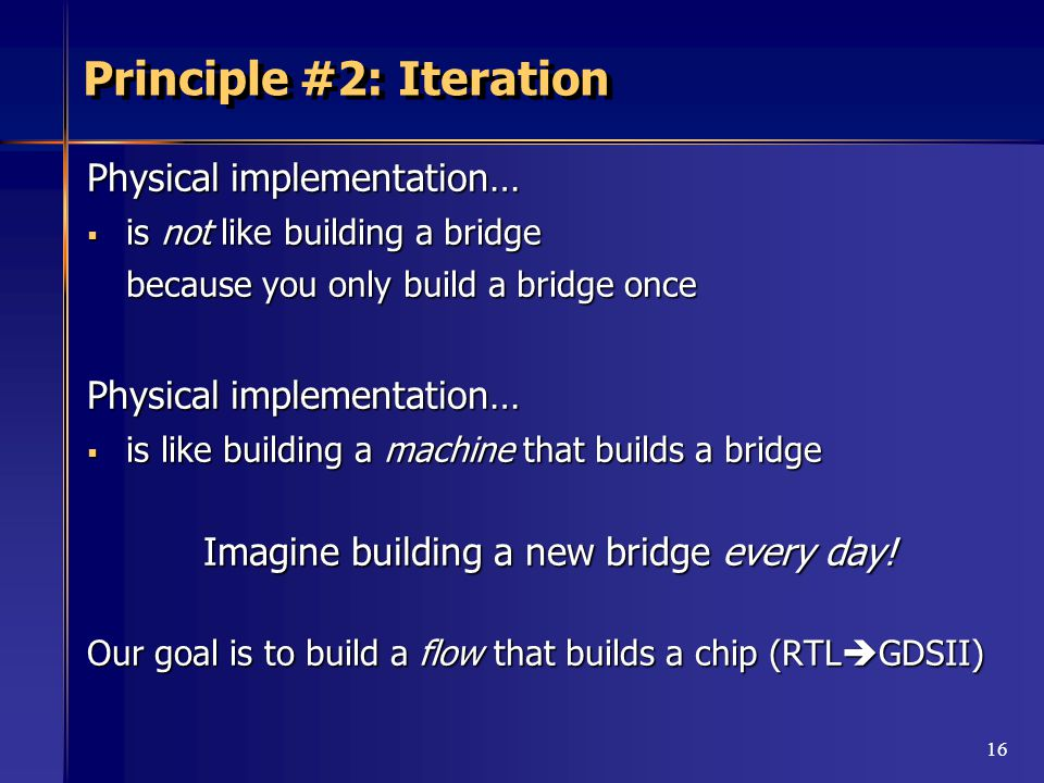 16 Principle #2: Iteration Physical implementation…  is not like building a bridge because you only build a bridge once Physical implementation…  is like building a machine that builds a bridge Imagine building a new bridge every day.