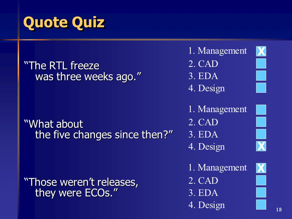 18 Quote Quiz The RTL freeze was three weeks ago. What about the five changes since then Those weren't releases, they were ECOs. 1.