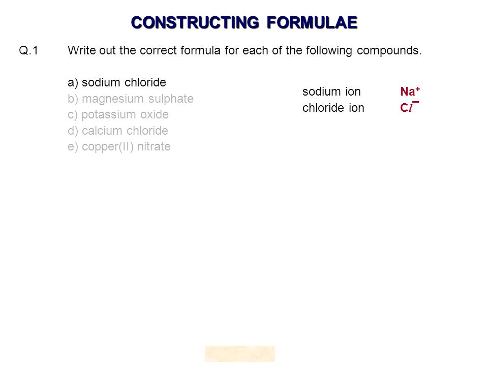 Q.1 Write out the correct formula for each of the following compounds.