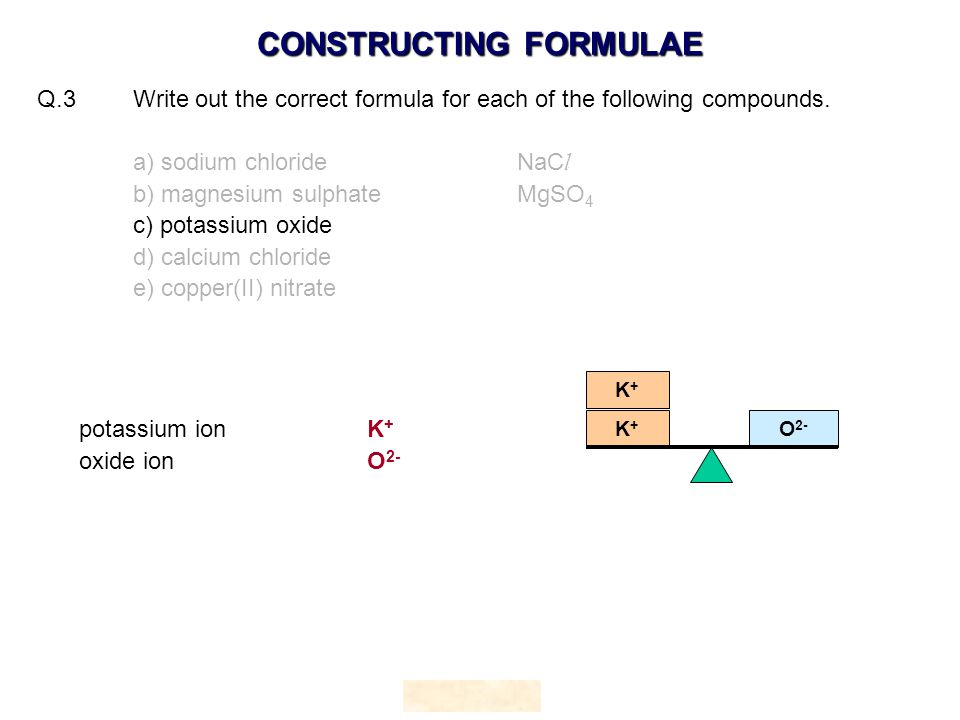 Q.3 Write out the correct formula for each of the following compounds.