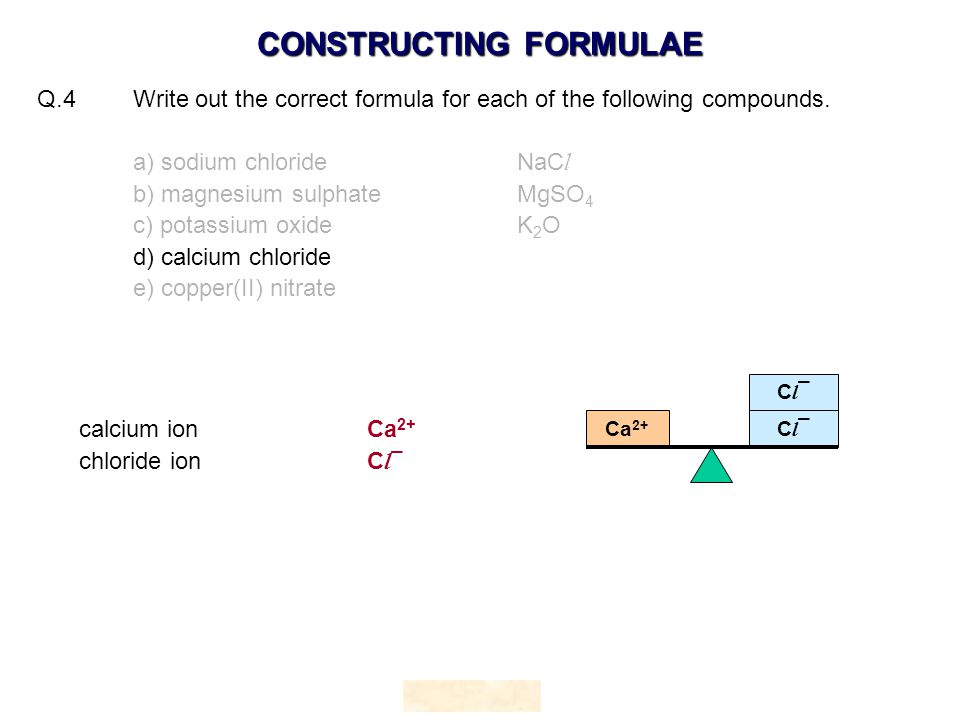 Q.4 Write out the correct formula for each of the following compounds.