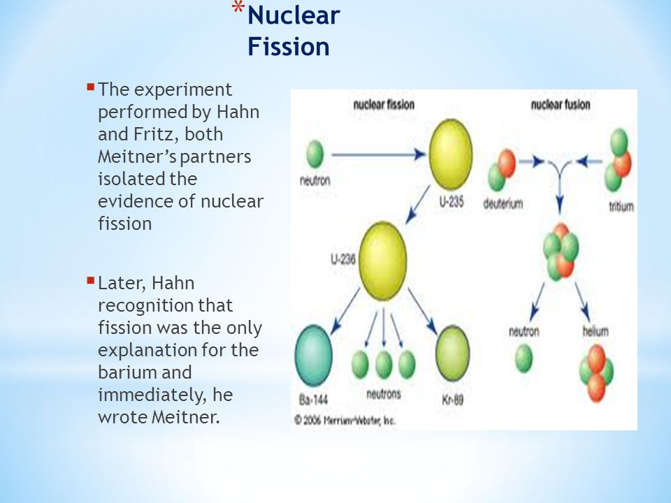* Nuclear Fission  The experiment performed by Hahn and Fritz, both Meitner's partners isolated the evidence of nuclear fission  Later, Hahn recognition that fission was the only explanation for the barium and immediately, he wrote Meitner.