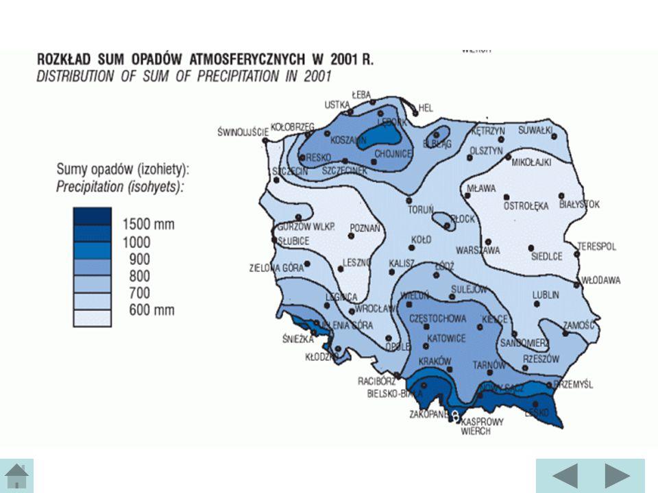Precipitation in Poland Average annual precipitation is 600 mm 2/3 of annual precipitation is in the warm season (summer) 1/3 of annual precipitation