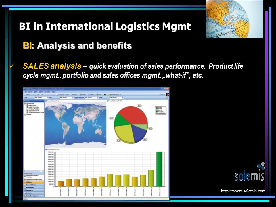 BI in International Logistics Mgmt BI: Analysis and benefits SALES analysis – quick evaluation of sales performance. Product life cycle mgmt., portfol