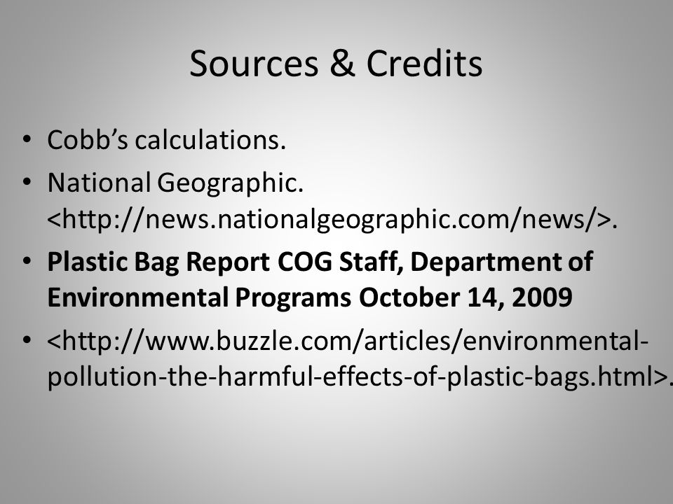 Sources & Credits Cobb's calculations. National Geographic..