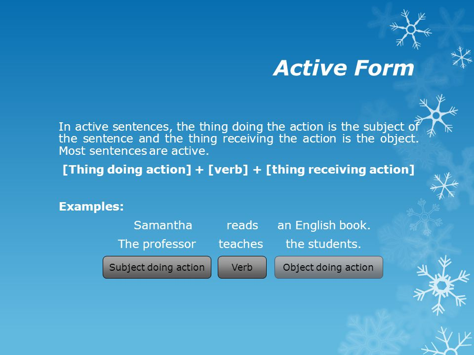 Passive Form In passive sentences, the thing receiving the action is the subject of the sentence and the thing doing the action is optionally included near the end of the sentence.