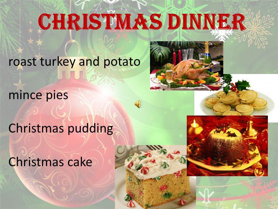 CHRISTMAS DINNER roast turkey and potato mince pies Christmas pudding Christmas cake