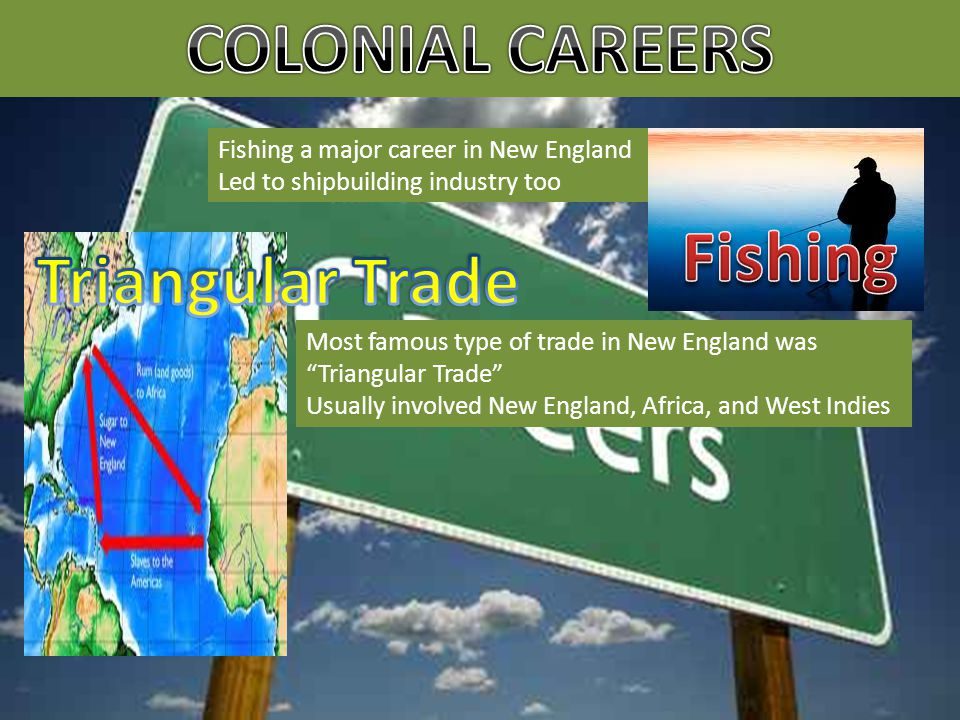 Fishing a major career in New England Led to shipbuilding industry too Most famous type of trade in New England was Triangular Trade Usually involved New England, Africa, and West Indies