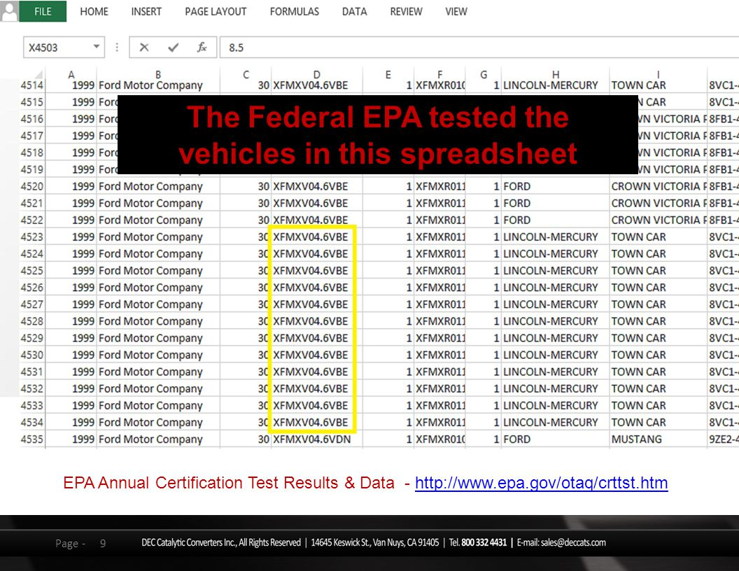 9Page - EPA Annual Certification Test Results & Data - http://www.epa.gov/otaq/crttst.htmhttp://www.epa.gov/otaq/crttst.htm The Federal EPA tested the vehicles in this spreadsheet