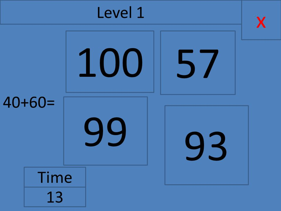40+60= x Level 1 Time 13 99 57 93 100