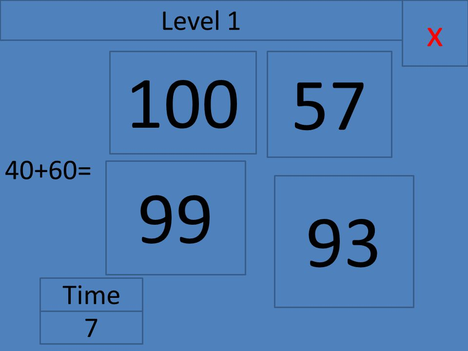 40+60= x Level 1 Time 7 99 57 93 100