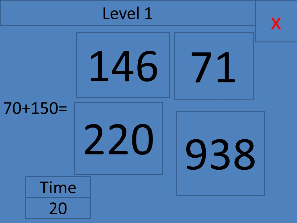 70+150= x Level 1 Time 20 146 220 71 938