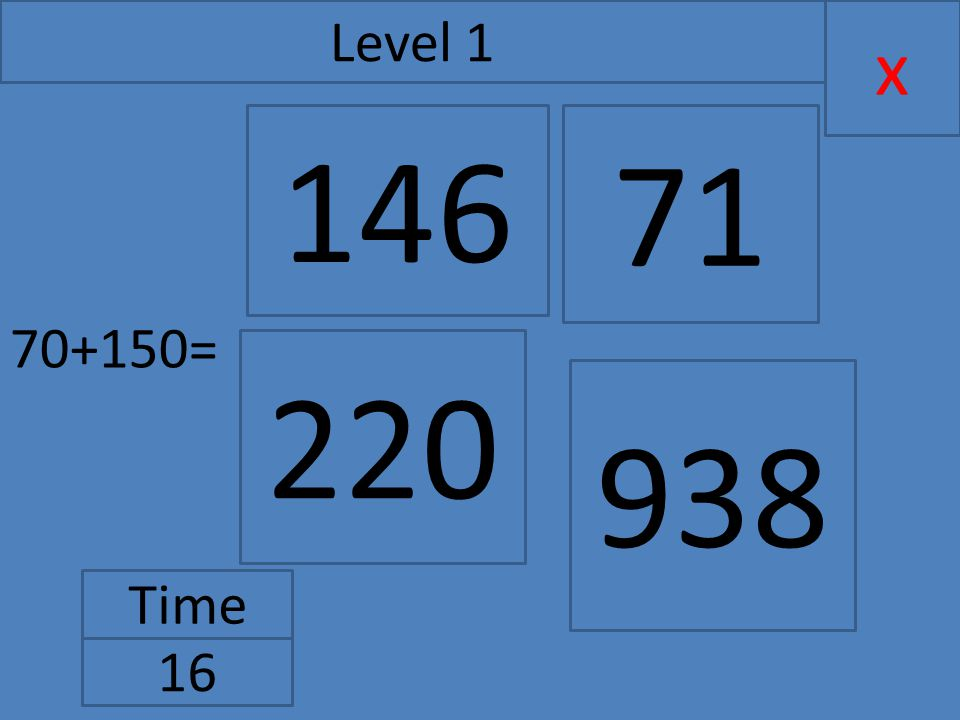 70+150= x Level 1 Time 16 146 220 71 938