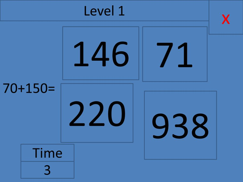 70+150= x Level 1 Time 3 146 220 71 938