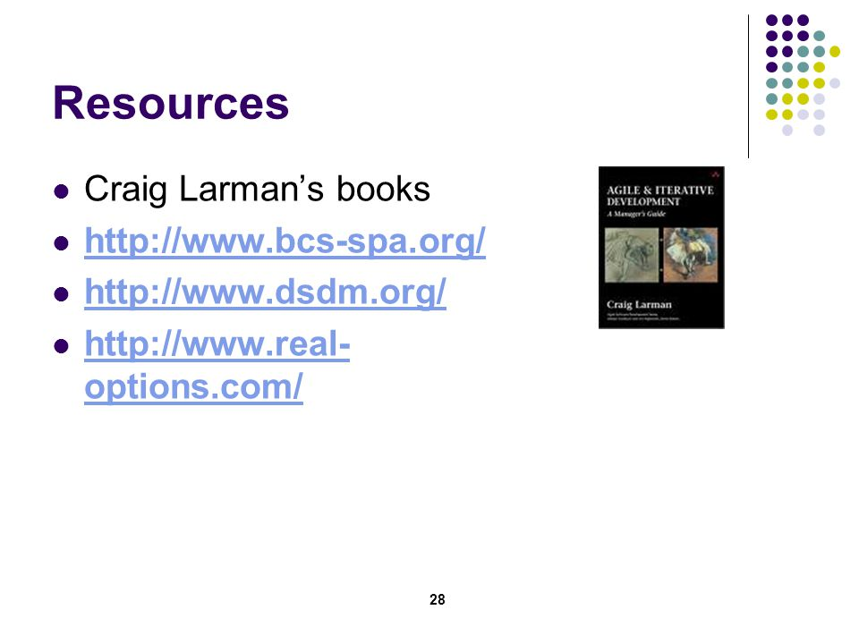 28 Resources Craig Larman's books http://www.bcs-spa.org/ http://www.dsdm.org/ http://www.real- options.com/ http://www.real- options.com/