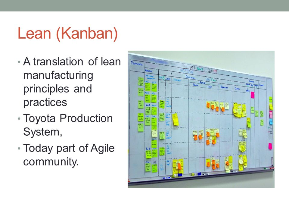 Lean (Kanban) A translation of lean manufacturing principles and practices Toyota Production System, Today part of Agile community.