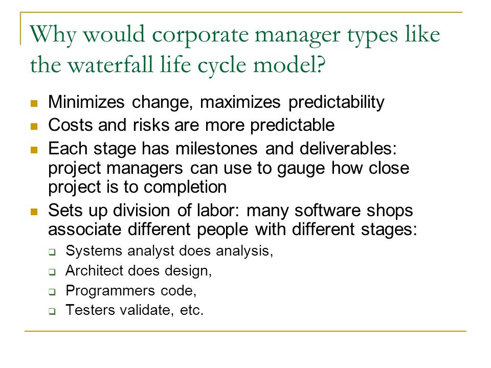 Testing in the waterfall model Let's look at more Pfleeger's version of waterfall modelwaterfall model  Many waterfall models show 5 stages—why more here.